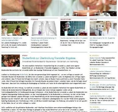 Die neue Homepage der Universität zu Lübeck